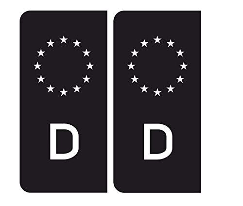 MG345 / 2X Aufkleber Nummernschild Deutschland EU Sticker Black D Feinstaub V8 Outlaw Tuning
