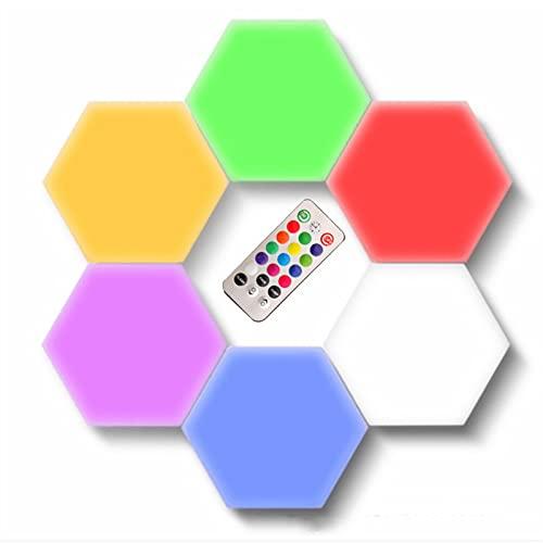 Luz Hexagonal Sensible Al Tacto Montaje en Pared Inteligente Luz Nocturna con Control Remoto Alimentación USB Utilizado en Dormitorio, Decoración de Sala de Estar, Regalos (Paquete de 6)