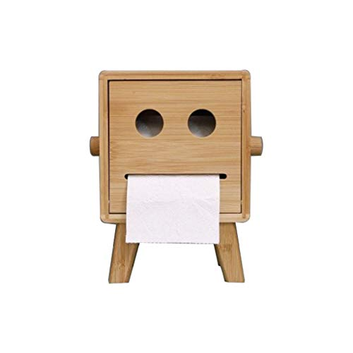 WSZLSD Bambus-Holz Tissue Roll Box Halter, Papierhandtuchhalter für Arbeitsplatten, Tissue-Box für Kinder, für Bad-Küchen-Waschtischplatten, 16 × 16 × 22 cm