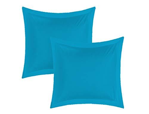 UNIVERS-DECOR Lot de 2 taies d'oreiller 65 x 65 cm Volant Plat piqué / 100% Coton / 57 Fils/cm² (Turquoise, 2 Taies d'oreiller 65 x 65 Volant Plat piqué)