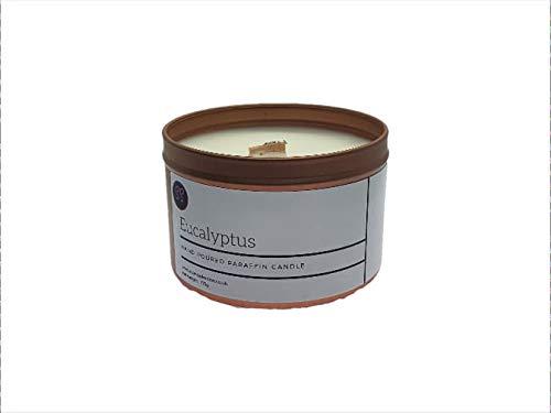Vela aromática de aceite esencial de eucalipto, aroma de Woodwick, hecho en lata de oro rosa con cera de vela premium y aceites aromáticos