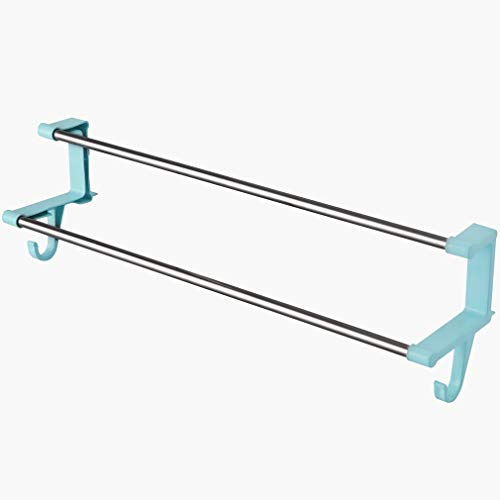Xiao Jian-Bibliom Wandregal Handtuchhalter Badetuchhalter Doppelstangen ohne Saugnapf für Badezimmer Küche, blau