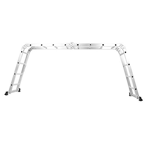 Aluminum Multi-Position Ladder,Alloy Adjustable Folding Ladder with 2 Panels for Home Warehouse