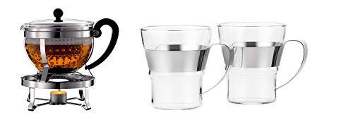 Bodum K11143-16 Chambord Set, Teebereiter mit Plastikfilter 1,3L, mit Rechaud Glänzend &  ASSAM 2-teiliges Kaffeeglas-Set (Doppelwandig, Metallgriff, Spülmaschinengeeignet, 0,3 liters) glänzend