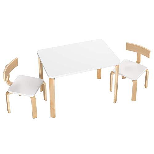 Homfa Kindersitzgruppe Kindertisch Kinderstuhl Sitzgruppe Kindermöbel aus 1x Tisch und 2X Stühle Holz Weiß