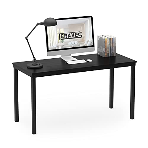 """Teraves Computer Desk/Dining Table Office Desk Sturdy Writing Workstation for Home Office(39.37"""", Black)"""