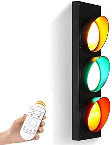 Semáforo Luz De Pared LED Con Control Remoto Rojo Amarillo Verde Luz De Advertencia De Señal Industrial Retro Lámpara De Pared De Hierro Bar Cafetería Iluminación Decoración Aplique De Pared