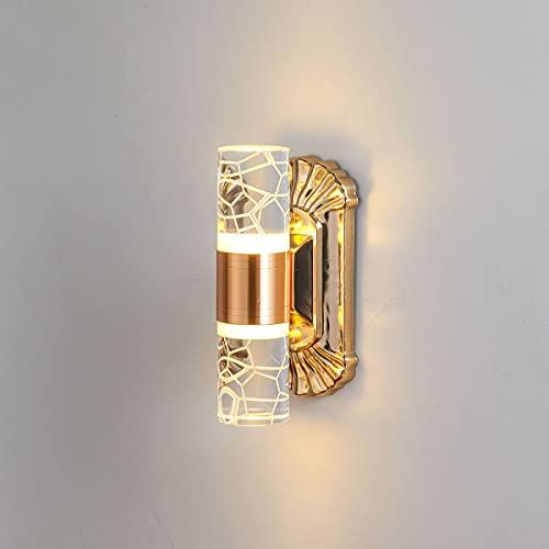 NStar Lámpara de pared interior aplique de pared interior, 6 W, acrílico arriba y abajo, regulable LED moderno, regulable, lámpara de pared, para interior, luz nocturna