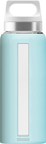SIGG Dream Glacier Trinkflasche (0.65 L), schadstofffreie und hitzebeständige Trinkflasche, auslaufsichere Trinkflasche aus Glas mit Silikonhülle