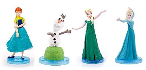Frozen Fever Lotto 4 Figure 5cm Anna Elsa Olaf Collezione Originali Decorazione Torta Cake Topper Disney