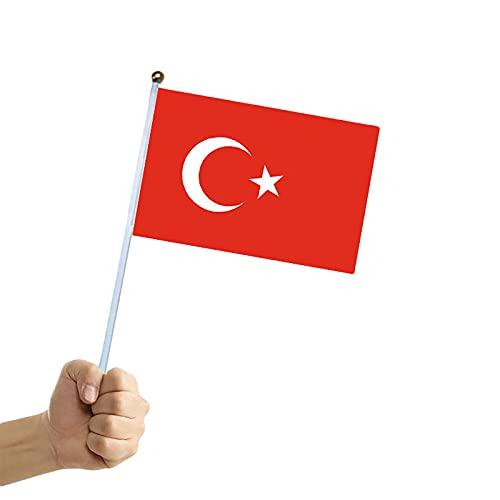 Flagge der Türkei – Handflagge 14 x 21 cm für 2021 Flagge der Europamer (4 Stück)