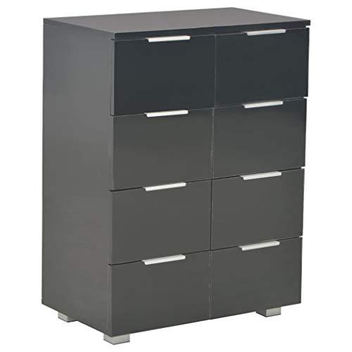 Dressoir 60x35x76 cm spaanplaat hoogglans zwart