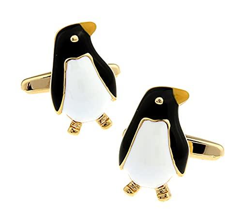 Boutons de manchette Manchot empereur noirs et dorés dans un coffret de luxe GRATUIT pour Ashton and Finch. Nouveauté Oiseau Animal Thème Bijoux