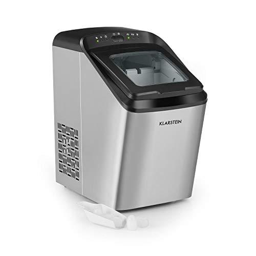 Klarstein Partytime - Máquina de cubitos de hielos, Potencia 145 W, Tanque de agua 2,9 L, Volumen producción 15 kg/24h, 9 cubitos por ciclo, 2 tamaños, Función autolimpieza, Acero, Plateado
