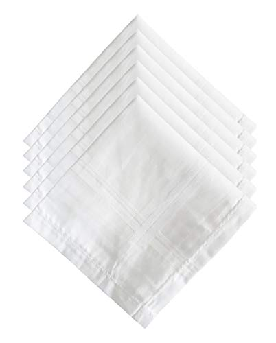 S4S Men's 100% Cotton Supreme Collection Handkerchiefs - Pack of 6 (White_46X46 CM)