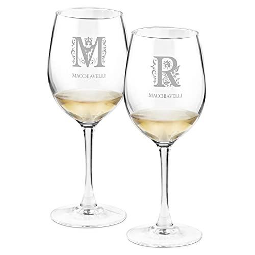 Maverton Calici da vino - incisione personalizzata - 350 ml - set da 2 pezzi in vetro - ideale per il vino rosso e bianco - idea regalo di anniversario unico - per la coppia - Cognome
