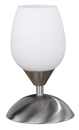 Wofi Tischleuchte-Flame, 1-flammig, Nickel-matt, Höhe-21 cm, 814101640500