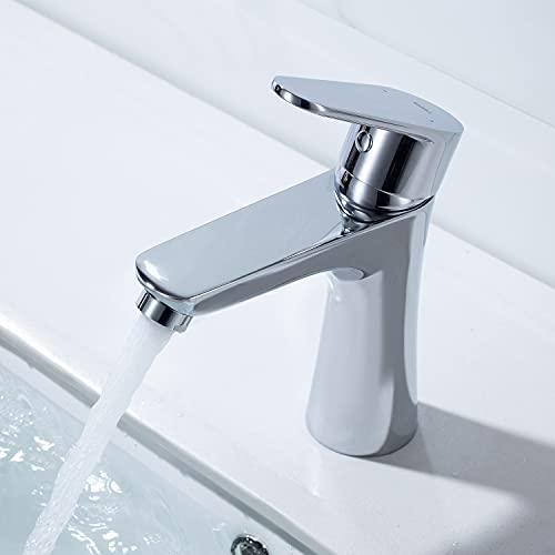 Umi. by Amazon - Grifo de Lavabo con Aireador Ahorro de 30% Agua Grifo para Baño Acabado Cromado para Baño Anti- ruido con Mangueras Estandares
