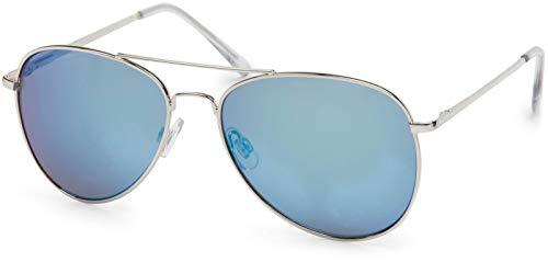 styleBREAKER Aviadores Gafas de sol con lentes tintadas o de espejo con bisagra de resorte, unisex 09020037, color:Marco plateado/vidrio azul