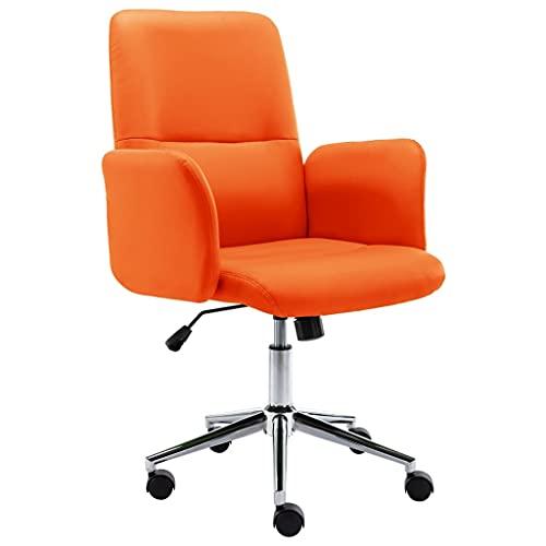 vidaXL Silla de Oficina Sillón Asiento Butaca Ejecutiva Giratoria Escritorio Estidio Ordenador Confortable Ajustable de Cuero Sintético Naranja