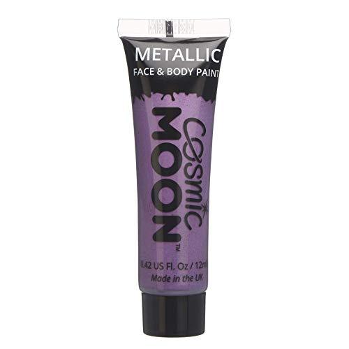 Cosmic Moon - Peinture de maquillage métallique pour le visage et le corps - 12ml - Créez des motifs de maquillage métallique fascinants pour visage! - Inclut: Violet