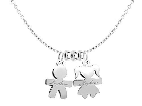 Catenina e ciondoli My Bebè maschietto e femminuccia in argento 925 personalizzabili con nome