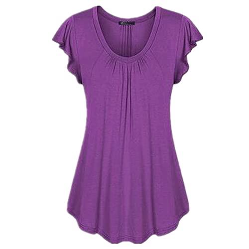 Manga Corta Mujer Elegante Cómodo Verano Cuello Irregular Color Sólido Mujer Tops Único Plisado Diseño Mujer Blusa Diario Casual Suelto All-Match Mujer T-Shirts J-Purple 5XL
