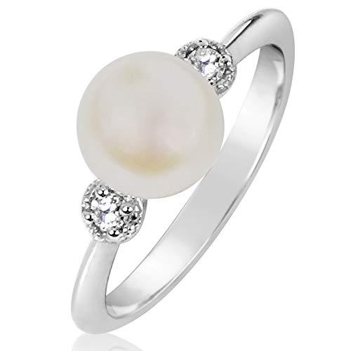 Anello Donna Fidanzamento Oro e Diamanti–Oro Bianco 9kt 375 Diamanti 0.11Carati e perla 7,5–8.0mm e Oro bianco 375, 13, Clicca su MILLE AMORI blu e scopri tutte le nostre collezioni
