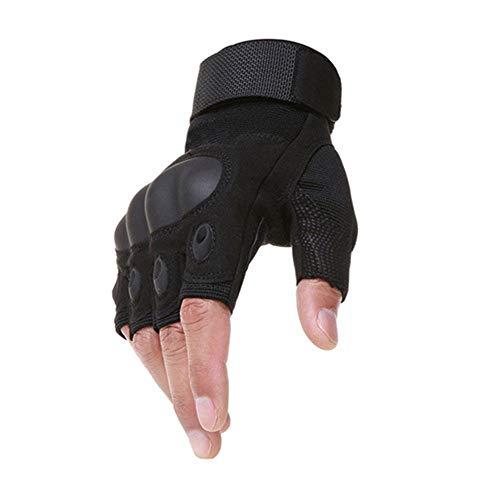 Jilibaba Guantes de bicicleta de medio dedo para hombres y mujeres con pantalla táctil dura guantes de nudillos para deportes al aire libre, ciclismo, motocicleta, senderismo, L