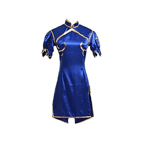 Oppinty Vestido japonés Fotografía Disfraz de Cosplay Sutorīto Faitā Chun-Li Anime Vestido de uniforme de manga corta Fiesta de Navidad Vestido de falda lindo Vestido de lujo L Vestido azul