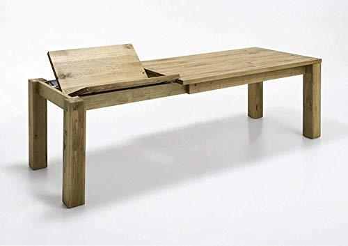 MyStyleWood Esstisch Küchentisch Esszimmer - Tisch Wildeiche Massiv mit Gestellauszug 140x90cm ausziehbar bis 210 cm,