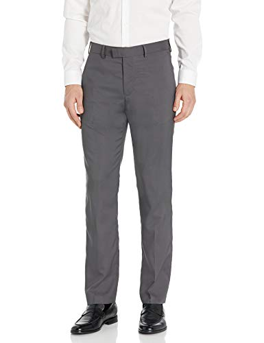 Axist Men's Flat Front Straight Fit Textured Dress Pant, castlerock 36x32