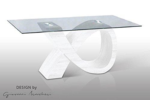 giovanni marchesi design Table DE Repas Alpha Blanc Dessus Verre
