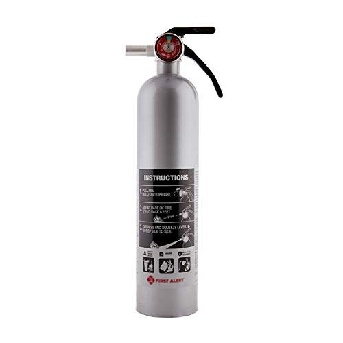 FIRST ALERT Fire Extinguisher, Designer Home Fire Extinguisher, Pewter, 2.5 lb, DHOME1 FE1A10GR