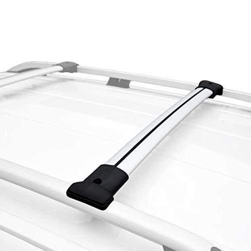 RE&AR Tuning Relingträger für VW Golf VII Sportsvan 2014-2021 Dachträger Gepackträger Aluminium Grau 2 TLG