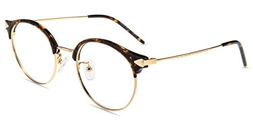 Firmoo Lesebrille mit Blaulichtfilter für Damen Herren, Anti Blaulicht Computerbrille mit Sehstärke, Runde Lesehilfe Sehhilfe Brille Blendfrei Kratzfest, Rahmenbreite 133mm-Mittel (Leopard-Gold, 0.0x)