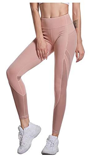SIMOOOTHY Leggings y medias deportivas Pantalones De Yoga Con Costuras De Malla Femenina Pantalones Deportivos De Bolsillo Lateral Leggings De Cintura Alta Rosa L