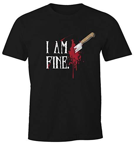 MoonWorks Herren T-Shirt Halloween Wunde Messer I Am Fine Horror Fun-Shirt Stichwunde schwarz 4XL