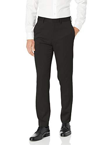 Kenneth Cole REACTION Men's Stretch Urban Heather Slim Fit Flat Front Dress Pant, Black, 31 x 30