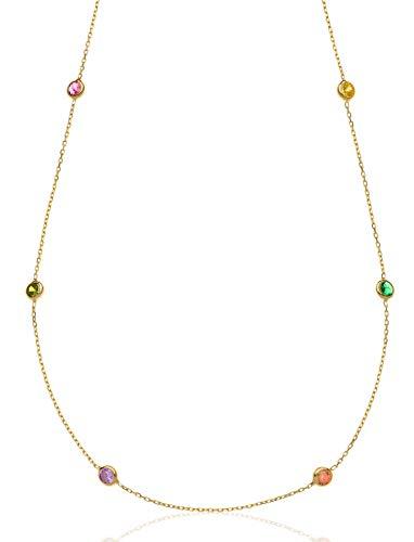 Aka Gioielli - Collana Girocollo Donna Argento 925 Dorato con Piccole Pietre Colorate, Delicata Collana per Ragazza