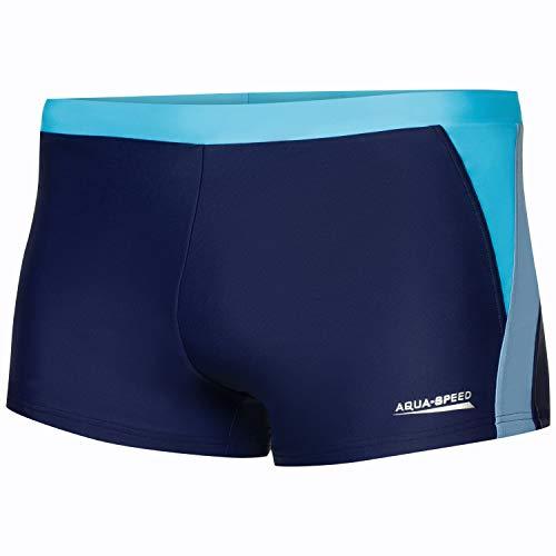 Aqua Speed Herren Badehose | Schwimmhose | S-XXXL | Modern | Vita Gewebe UV-Schutz | Chlor resistent | Kordelzug | Muskelkontrolle, Größe:S, Farbe:Navy/l.Blue/Blue - 423