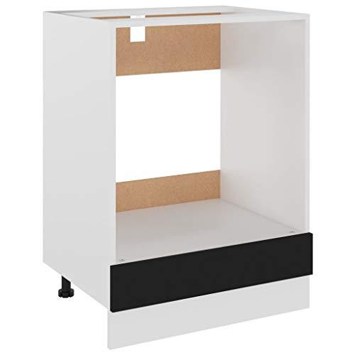 vidaXL Herdumbauschrank Küchenschrank Ofenschrank Backofenschrank Herdschrank Küchenzeile Küchenmöbel Backofen Schwarz 60x46x81,5cm Spanplatte