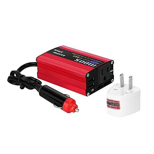 Gobutevphver Convertidor de Corriente 500W DC a AC Convertidor de Corriente DC 12V a 110V 220V AC Inversor de Coche Transformador automático con Adaptador de Coche USB Dual - Rojo 220V