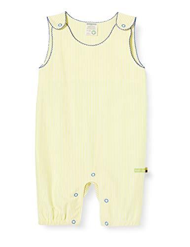 loud + proud Baby-Mädchen Striped Short Overall Organic Cotton Strampler, Gelb (Lemon Lea), (Herstellergröße: 62/68)