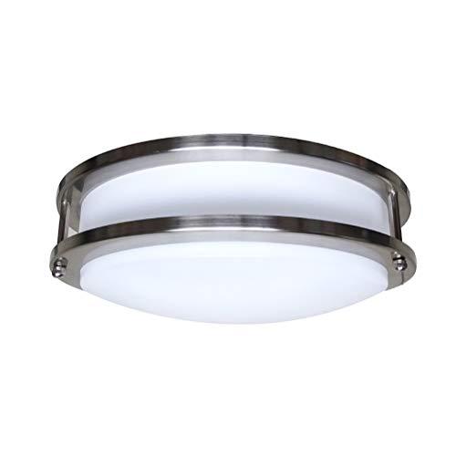 Uonlytech – Lámpara de techo LED, 12 pulgadas, 18 W, regulable, redonda, doble capa, 3000 K, luz blanca cálida