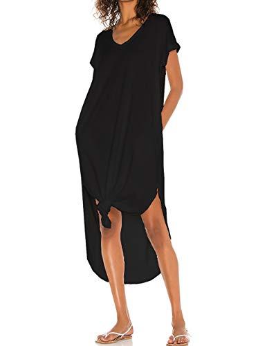 CMZ2005 Womens Casual Short Sleeves V Neck Maxi Dress Sexy Sides Split Dress with Pockets 71896 (Black, S)