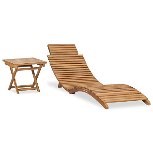 vidaXL Solid Teak Wood Folding Sun Lounger with Table Outdoor Seating Furniture Garden Sunbed Lounge Chair Day Bed Patio Curved Lounger