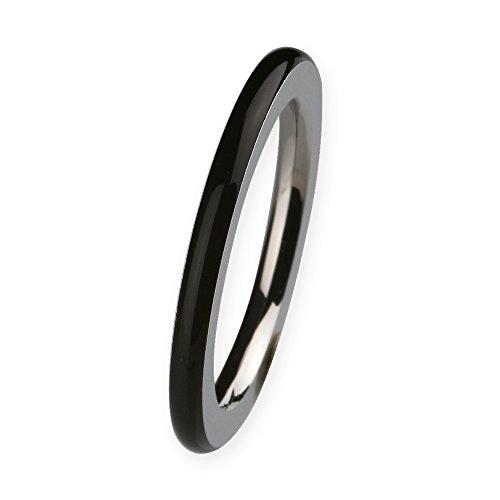 Ernstes Design Vorsteckring, ED vita Ring, Beisteckring, Ring aus Edelstahl mit Keramikauflage schwarz 2mm R272 (56 (17.8))