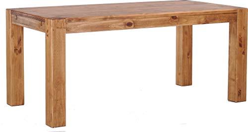 Brasilmöbel Esstisch Rio Kanto 180x90 cm Brasil Pinie Massivholz Größe und Farbe wählbar Esszimmertisch Küchentisch Holztisch Echtholz vorgerichtet für Ansteckplatten Tisch ausziehbar