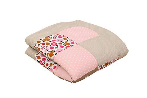 Alfombra para gatear de ULLENBOOM ® con beige ardilla (manta para bebé de 100x100 cm; ideal como colcha para el cochecito; apta como alfombra de juegos)